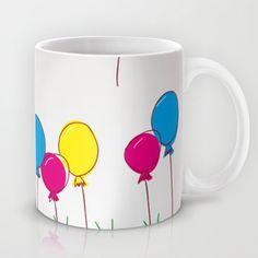 Cyan, magenta, yellow balloons Mug by MJB photo design - $15.00