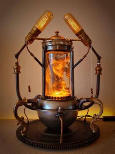 Pogona Bearded Dragon Steampunk Lamp
