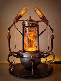 Pogona Bearded Dragon Steampunk Lamp