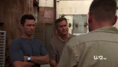 "Burn Notice 4x12 ""Guilty as Charged"" - Michael Westen (Jeffrey Donovan), Sam Axe (Bruce Campbell) & Vic (Owen Harn)"