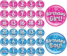 #Birthday #girls boys blue pink age #number jumbo badge with holographic dot,  View more on the LINK: http://www.zeppy.io/product/gb/2/131778999432/