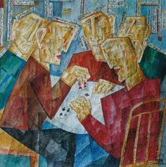 Buy The Gambler, a Paper on Paper by Zaza Tuschmalischvili from Germany. It portrays: People, relevant to: playing, red, cards, card player, collage, gambling, group, men Contemporary work by renowned artist Zaza Tuschmalischvili in a figurative-surrealistic style. It's from the gambling-series.