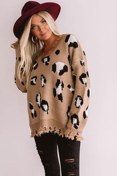 Let The Music Fray Leopard Sweater In Mocha - Suit Fashion Sweaters And Leggings, Fall Sweaters, Cute Sweaters, Vintage Sweaters, Sweaters For Women, Oversized Sweaters, Pullover Sweaters, Christmas Sweaters, Leopard Print Outfits