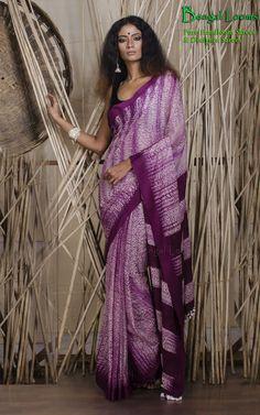 Beautiful Shivori Khadi Saree available for sale from Bengal Looms