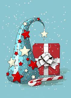 Gnome hat and gift contemporary Christmas art cxard print. Christmas Rock, Christmas Colors, Winter Christmas, Christmas Time, Merry Christmas, Christmas Decorations, Christmas Ornaments, Christmas Wreaths, Christmas Clipart