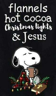 Snoopy - Flannels, hot cocoa, Christmas light and Jesus. Peanuts Christmas, Winter Christmas, Christmas Lights, Christmas Holidays, Xmas, Merry Christmas, Celebrating Christmas, Snoopy Quotes, Charlie Brown And Snoopy