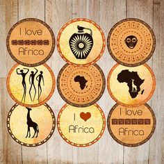 """Printable Safari party decoration Cupcake toppers African travel party DIY circles INSTANT DOWNLOAD orange yellow red brown 2"""" round items"""