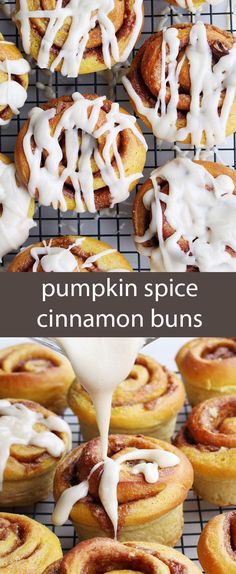 Pumpkin spice cinnamon buns are so pillowy soft and pair perfectly with the gooey spiced dark brown sugar filling. Drizzled with maple butter cream cheese frosting. via @tastesoflizzyt