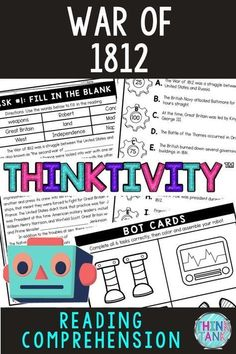"""The War of 1812 Thinktivity™ is an engaging reading comprehension activity in which students """"earn"""" robot parts as they complete each task. The reading passage provides a unique way to get students excited about learning about the War of 1812. #Warof1812 #ThinkTank #USHistory #ReadingComprehensionTasks #ReadingPassages #4thgrade #5thgrade #6thgrade #CloseReading #MiddleSchool #UpperElementary #Thinktivity™ 4th Grade Ela, 5th Grade Classroom, 5th Grade Reading, 4th Grade Social Studies, Social Studies Activities, Interactive Activities, History Activities, Classroom Activities, Reading Comprehension Activities"""