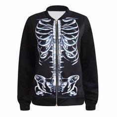 3D digital print Harajuku Skull skeleton couple wear baseball jacket long sleeve causal Coat fashion abrigos y chaquetas mujer