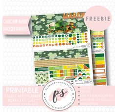 Lucky St Patrick's Day Classic Happy Planner March 2018 Monthly Kit Digital Printable Planner Stickers (PDF/JPG/PNG/Silhouette Cut File Freebie)