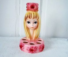 Vintage adorable josef pink lipstick holder head vase.