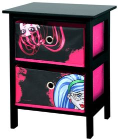 monster high bedroom furniture   Monster High 2 Drawer Black and Pink Bedroom Storage Unit by Mattel ...