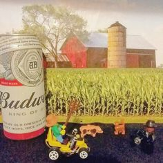 Its a holiday so I went into my #customlego form to see what #lego farmer was up to and see if he wanted to sip on some #stlouis best #budweiser . But he was on his #custom lawn mower tripping and swinging his #pitchfork around laughing crazy and shht.  So I pulled camera out and took pic and got ghost quick  and  left his #crazy  azz alone . I think I'm gone rethink my next visit to #legoland farm . by you_know_king