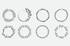 These hand drawn wreaths are perfect for scrapbooks, invitations, stationary, cards, arts and crafts, collages, and other print projects as well as digital projects! ♥♥♥ INFORMATION ♥♥♥ This set is an instant download .zip that comes included with 8 hand drawn wreaths in the following formats: - .EPS - .AI - .SVG - .DXF - .PNG