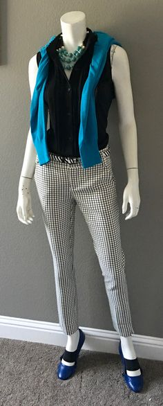 cabi fall '16 Windowpane Trouser, Jagger Blouse, Darby Sweater and Zebra Belt with blue flats and my grandmother's necklace. http://shaynigeorge.cabionline.com ‪#‎springintofall‬ ‪#‎trueblue‬