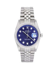 Pre-Owned Rolex Stainless Steel and White Gold Datejust Watch with Blue Dial and Diamond Bezel, Jewelry & Accessories - Bloomingdale's Rolex Diver, Sporty Watch, Gold Rolex, Limited Edition Watches, Pre Owned Rolex, Luxury Watches For Men, Rolex Datejust, Fashion Watches, Men's Fashion