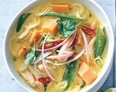 Spicy Curry Noodle Soup with Chicken and Sweet Potato   Bon Appetit. Spicy, sweet, and buttery. Lovely.