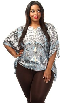 This summer ready blouse features a paisley print body, Flared sleeves and neck tie. Soft, non-stretch material 100% Polyester Model wearing 3X Imported