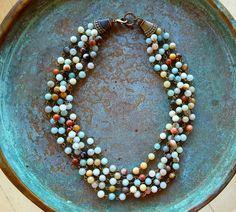 Amazonite necklace boho chic unique gift by StoneworksByJan