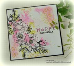 Simon Says Stamp Monday Challenge - 5 August 2019 - Happy Birthday using Beautiful Flowers and Circular Lace Stencil with an easy Distress Oxide Watercolor technique Flower Stamp, Flower Cards, Watercolor Cards, Watercolor Print, Lace Stencil, Simon Says Stamp Blog, Craft Stash, Miss You Cards, Singing Happy Birthday