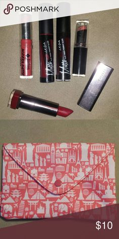 Lipstick Bundle 2 LA Girl Matte Liquid lipsticks in Backstage and Secret, both used once CoverGirl lipstick in Tempt, used a few times Wet n Wild Lipstick in Just Peachy, used a couple times Jordana Modern Matte Lipstick in Matte Pretty, used once Comes in cute makeup bag! CoverGirl Makeup Lipstick