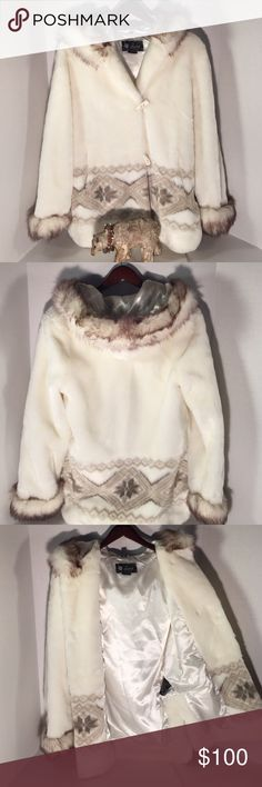 Nuage winter extremely soft fur coat Creme tan North American print Brand new never worn. Jackets & Coats