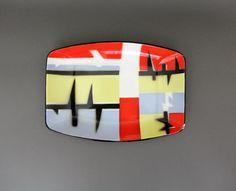 Vintage enamel tray / EMO Celje colorful geometric pattern enameled tray made in Yugoslavia