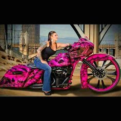 """Girl on Pink and Black Bagger Motorcycle 1 of 17 Pictures in """"Girls and Motorcycles"""" Album"""