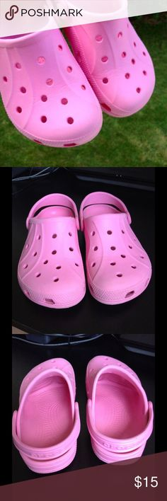 Pink Crocs ✔US Sz J2 or Eu34-35 or US 4.  ✔Reasonable offers or bundle 3 items or more to get 20% discount. ✔Same day shipping ✔Packaging - your item is wrapped in a new gift tissue, placed in a new plastic shopping bag & topped with a thank you card. ✔Inquiries, questions and requests are welcome. ✖No outside PP transaction and no trades. crocs Shoes Mules & Clogs