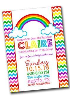 Rainbow Birthday Party Digital Invitation - You Print