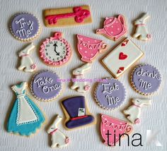 Alice in Wonderland cookies in delicious shortbread.