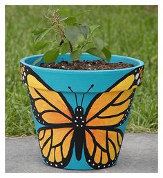 Butterfly Pot | I painted this pot for the bougainvillea pla… | Flickr
