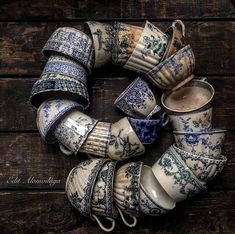 lovely collection of old cups. - Home Decor Blue And White China, Love Blue, Antique China, Vintage China, Wabi Sabi, Vintage Dishes, Delft, Shades Of Blue, Tea Time