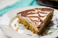 Raw Vegan Walnut Cream Pie with Chocolate Swirl. No-Bake Dessert!