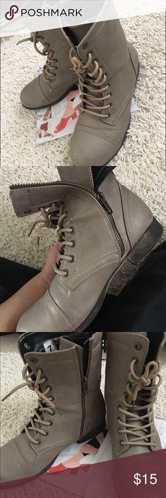 Selling this Tan combat boots on Poshmark! My username is: khadijariazzz. #shopmycloset #poshmark #fashion #shopping #style #forsale #Shoes