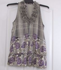 The Limited Women's Peplum Blouse Sleeveless Purple/Gray Floral Dot Print Large #TheLimited #Blouse