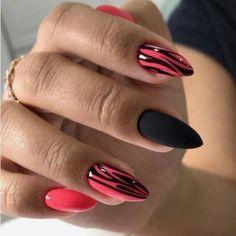 Идеи маникюра - Vous êtes à la bonne adresse pour Ongles rose Nous regroupons les plus belles images pour vous ic - Neon Nails, Shellac Nails, Pink Nails, My Nails, Almond Nails Designs, Gel Nail Designs, Cute Nails, Pretty Nails, Chameleon Nails