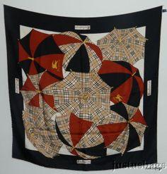 Auth Burberry Silk Scarf Umbrellas Check NO RESERVE! #Burberry #Scarf