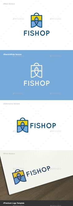 Fishop - Fish & Bag Logo Template Vector EPS, AI Illustrator. Download here: https://graphicriver.net/item/fishop-fish-bag-logo/17606773?ref=ksioks