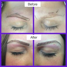 New semi permanent eyebrows hair stroke method. (These don't look good to me-- Just saying.)