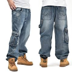 Enthusiastic Mens Baggy Jeans Men Wide Leg Denim Pants Hip Hop 2019 New Fashion Embroidery Skateboarder Jeans Free Shipping Men's Clothing