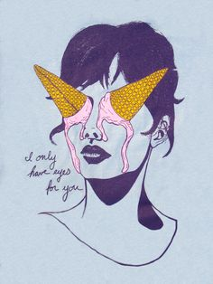 I only have eyes for you- ice cream illustration