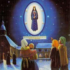 Our_Lady_of_Pontmain_Conocida como Nuestra Señora de la Esperanza, Lugar: Pontmain -Francia, Año: 17 Enero 1871. Videntes; 4 niños. Fiesta: 17 enero -Aprobada por la santa Sede.