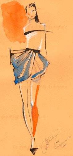 Watercolor and Ink Fashion Illustrations by Julija Lubgane at Coroflot.com