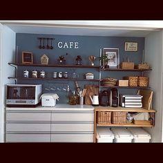 Kitchen/コーヒーミル/アクセントウォール/セルフペイント/かご収納/棚DIY...などのインテリア実例 - 2017-04-19 22:09:44 | RoomClip (ルームクリップ) Modern Kitchen Design, Home Kitchens, Liquor Cabinet, House Styles, Storage, Interior, Furniture, Home Decor, Purse Storage