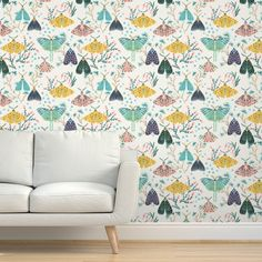 Commercial Grade Wallpaper Swatch - Hand Painted Moths Gouache Butterflies Blush Pink Traditional Wallpaper by Spoonflower