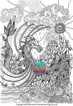 dragon adult colouring page landscape fantasy by soartonetsy