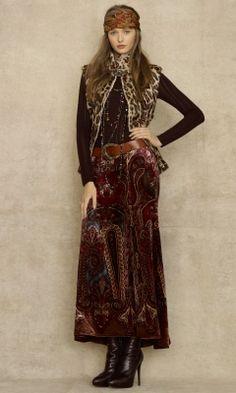 Viletta Velvet Paisley Skirt - RalphLauren