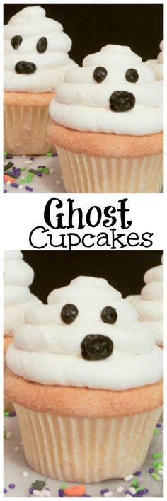 Easy to make Halloween Ghost Cupcakes are the perfect Halloween cupcake. Quick halloween treat that is fun and tasty. Halloween cupcake that looks like a ghost and tastes amazing made with homemade cupcakes and frosting!